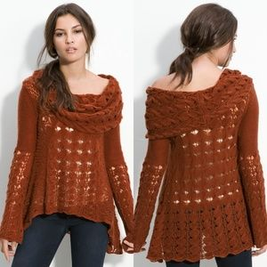Free People Burnt Sienna Cool Grace Bell Sleeve